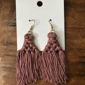 H&M dusty rose tassel earrings